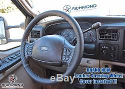 05-07 F-250 Lariat Power Stroke Turbo Diesel -Leather Steering Wheel Cover Black