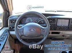 06 07 F-250 Amarillo 6.0L Power Stroke Turbo Diesel-Leather Steering Wheel Cover