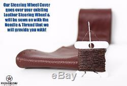 08 09 10 Ford F250 F350 King Ranch -Leather Steering Wheel Cover -1-Stitch Style