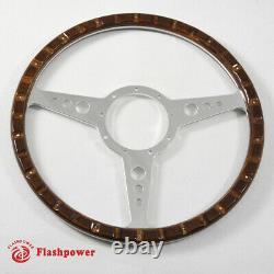 13'' Classic Riveted Laminated wood steering wheel Restoration Mini MG Triumph
