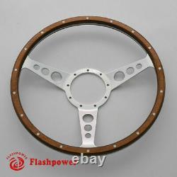 13'' Classic Wood Grain steering wheel Laminated Restoration Mini MG Triumph