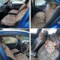 13pcs Leopard Print Car Seat Cover Short Plush Belt Pads With 38 Steering Wheel