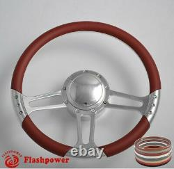 14 BILLET ALUMINUM 9 HOLE STEERING WHEEL KIT With HORN BUTTON & ADAPTER