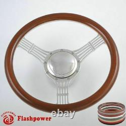 14'' Billet Banjo Steering Wheel Wood Half Wrap GM Corvair Impala Chevy II