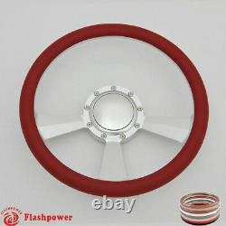 14 Billet Steering Wheel White Half Wrap Ford GM Cutlass Impala Chevy WithHorn