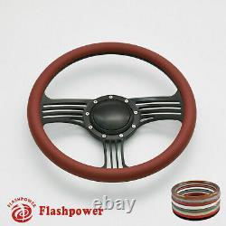 14'' Billet Steering Wheels Half Wrap Muscle Car Chevrolet Camaro Nova with Horn