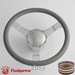 14'' Billet Steering Wheels White Half Wrap Banjo Ford Fairlane Galaxie LTD