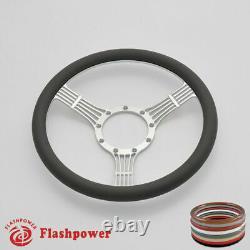 14'' Billet Steering Wheels White Half Wrap Custom Chevy Ididit Flaming River