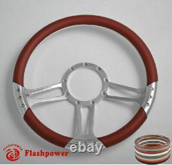 14'' Billet Steering Wheels White Half Wrap GMC Trucks Blazer El Camino Jimmy