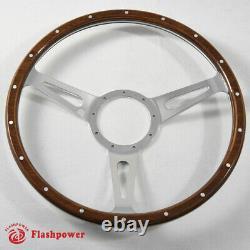 14'' Classic Riveted wood grain steering wheel Restoration MGB Midget Derrington