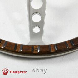 14'' Classic Riveted wooden steering wheel Custom Ford Mustang Shelby AC Cobra