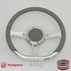 14 D Type Billet steering wheel Black Half Wrap muscle car Mustang WithH