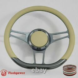 14 Gun Metal Billet Steering Wheel Ford GM Chevy Blazer C10 WithHorn &Adapter