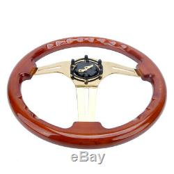 14 Wood Grain Steering Wheel 6 Bolts 1.75 Dish Gold Chrome Spoke Fit For Acura