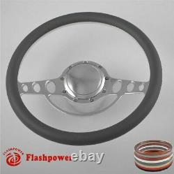 14'' billet steering wheels burgundy half wrap custom chevy Ididit FlamingRiver