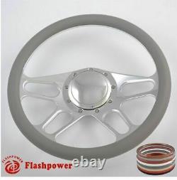 15.5 Billet Steering Wheel Red Half Wrap BUICK Chevy Ford Mopar GMC WithHorn