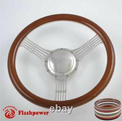 15.5'' Billet Steering Wheels Wood half wrap Banjo GM Corvair Impala Chevy II