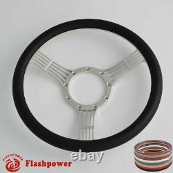 15.5'' Flashpower Billet Banjo Steering Wheel Wood Half Wrap Chevrolet Buick GMC