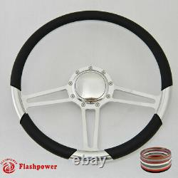 15.5 Polished Billet Steering Wheel White Half Wrap Firebird Ford