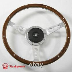 15'' Classic Laminated wood steering wheel Ford Mustang Shelby AC Cobra Vintage