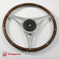 15'' Classic Riveted Wood Steering Wheel Restoration Mustang Shelby AC Cobra