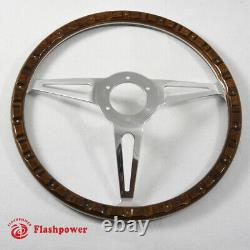 15'' Classic wood steering wheel Restoration Vintage Ford Mustang Shelby AC Cobr