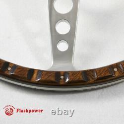 16 Classic Riveted Wood Grain Steering Wheel Restoration MGB Midget WithHorn