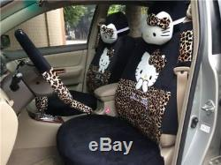 18PCS Hello Kitty Leopard Print Car Seat Covers Steering Wheel Cover Head Pillow