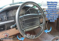 1992-1996 Ford Bronco Eddie Bauer XLT -Black Leather Wrap Steering Wheel Cover