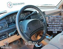1992 Ford F150 F250 F350 XLT Custom XL -Leather Steering Wheel Cover Black