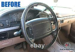 1993 1994 1995 Ford Bronco Eddie Bauer XLT Black Leather Steering Wheel Cover