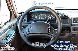 1993 Ford F150 F250 F350 XLT Custom XL -Leather Steering Wheel Cover Black
