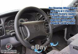1998-2002 Dodge Ram 3500 -Black Leather Steering Wheel Cover withNeedle & Thread