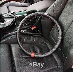1Pcs New M Power Black Carbon Fiber Luxury Car Steering Wheel Cover For M3 M5 M6