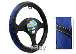 1Piece T22297 Black/Blue Steering Wheel Cover PVC Universal Fit for Auto Car SUV