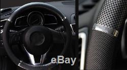 1 X Car Truck Carbon fiber PVC leathe Steering Wheel Cover Environmental rubber