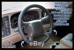 2000 2001 2002 Chevy Tahoe Suburban LT LS Z71-Leather Steering Wheel Cover Black