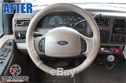 2000-2004 Ford F250 F350 F450 F550 Lariat -Leather Wrap Steering Wheel Cover Tan