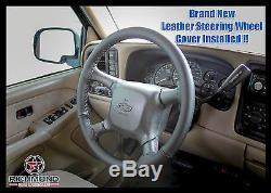 2001 2002 Chevy Silverado 2500 2500HD LT LS -Leather Steering Wheel Cover, Black