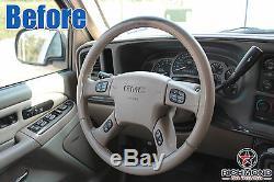 2001 2002 GMC Yukon XL 1500 Denali -Leather Wrap Steering Wheel Cover, Tan