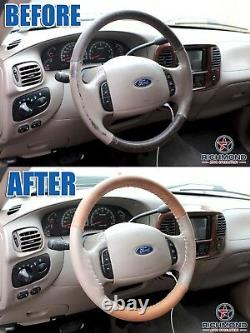 2001-2003 Ford F150 Supercab King Ranch-Leather Wrap Steering Wheel Cover 4-Seam