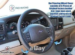 2002-2007 Ford F250 F350 F450 F550 XL -Leather Wrap Steering Wheel Cover, Black