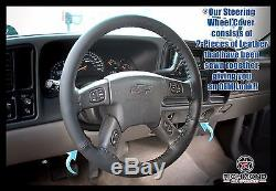 2003-2007 Chevy Silverado LT LS Z71 SS -Leather Wrap Steering Wheel Cover Black