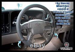 2005 2006 2007 GMC Sierra 2500HD SLT SLE -Black Leather Steering Wheel Cover