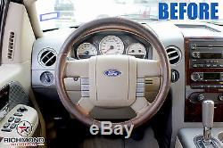 2005 Ford F-150 King Ranch F150 -Leather Steering Wheel Cover, 2-Stitch Style