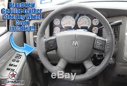 2006 2007 2008 Dodge Ram SLT Laramie -Leather Steering Wheel Cover, Dark Gray