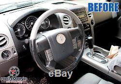 2006 Lincoln Mark LT -Genuine Leather Steering Wheel Cover, 2-Tone Black/Gray