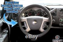 2007 2008 Chevy Silverado 2500 2500HD LT LS -Leather Steering Wheel Cover Black