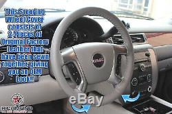 2007 2008 GMC Sierra 2500HD 3500HD SLT SLE -Leather Steering Wheel Cover Gray