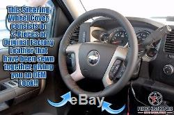 2007-2013 Chevy Avalanche LT Z71 LS LTZ-Leather Wrap Steering Wheel Cover, Black